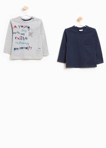 Two-pack T-shirts with print and pocket