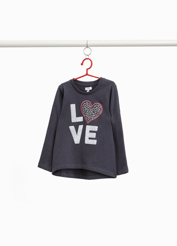 Sweatshirt with glitter printed lettering