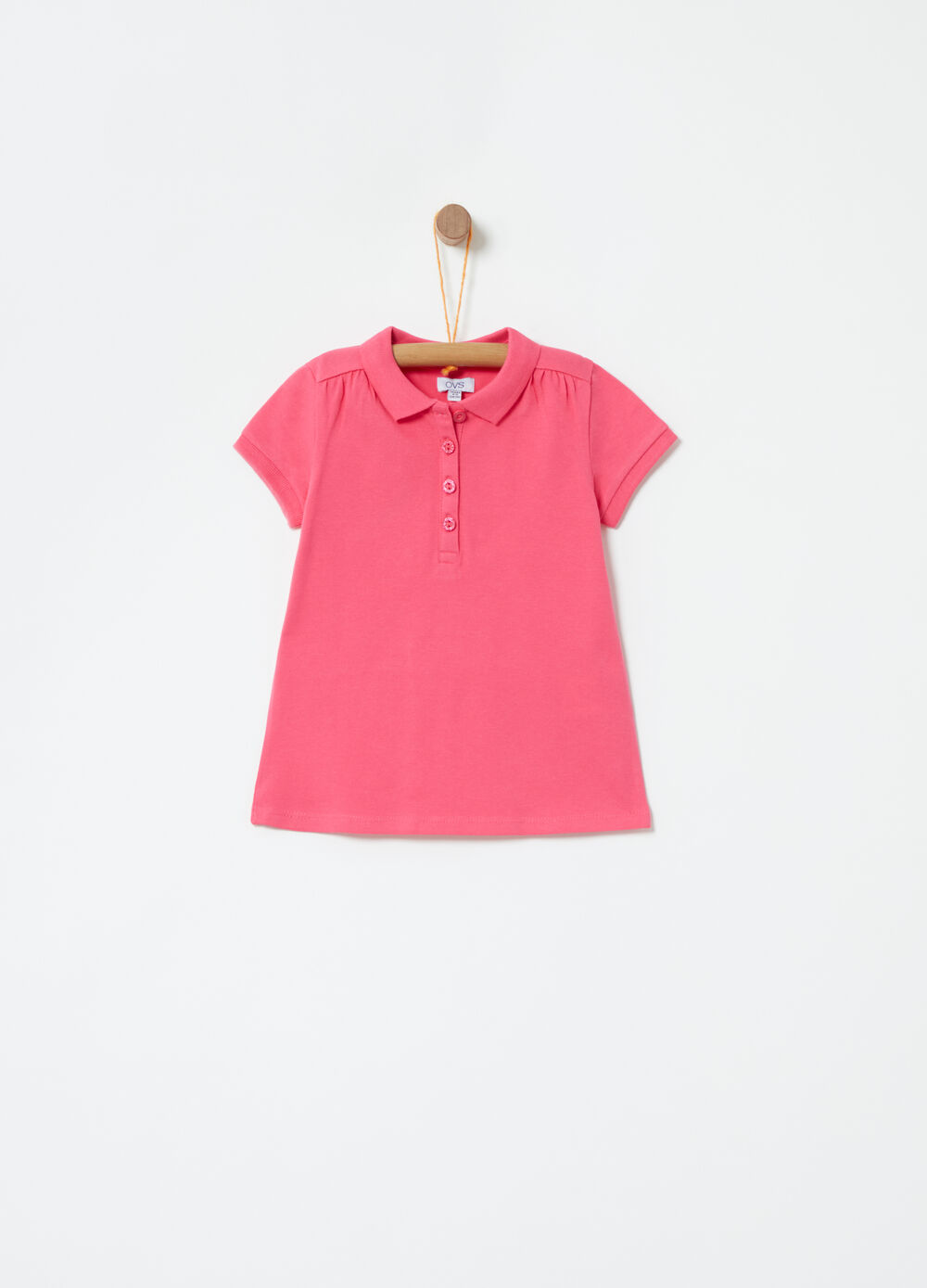 Cotton piquet knitted polo shirt with collar
