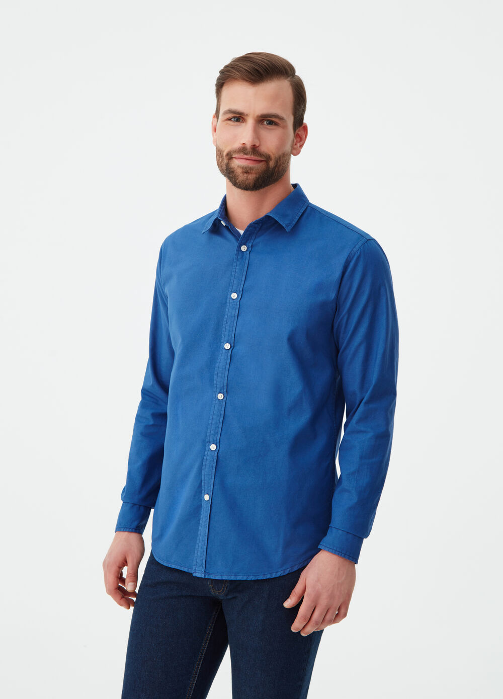 Camicia in Oxford regular fit tinta unita