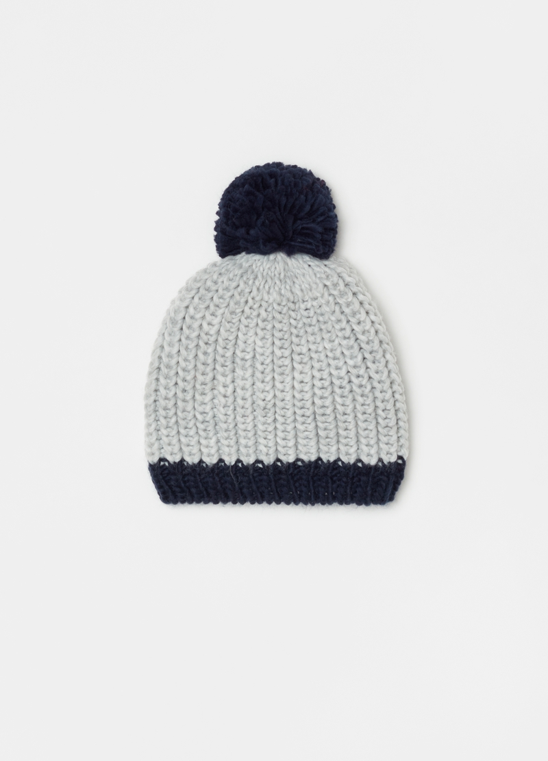 Hat with contrasting hem and pompom image number null