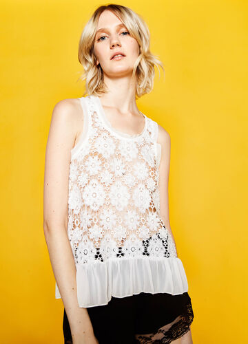 Top with embroidered lace and flounce