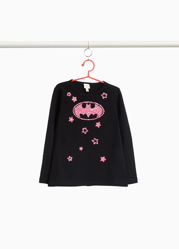 Stretch cotton T-shirt with Batgirl sequins