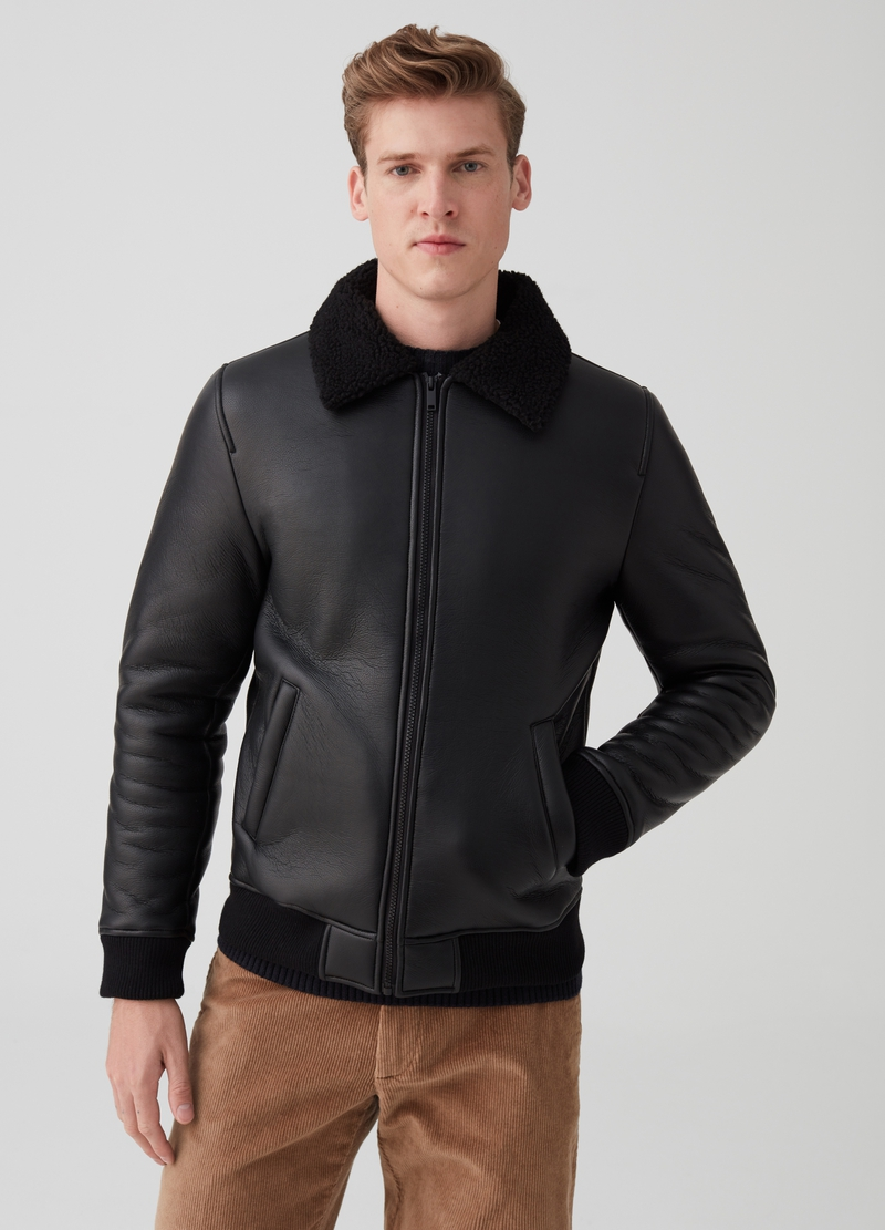Shearling-effect jacket with zip image number null