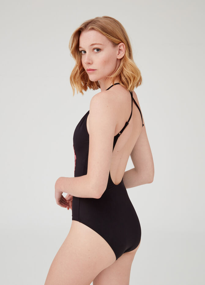 One-piece swimsuit with V neck and sequins