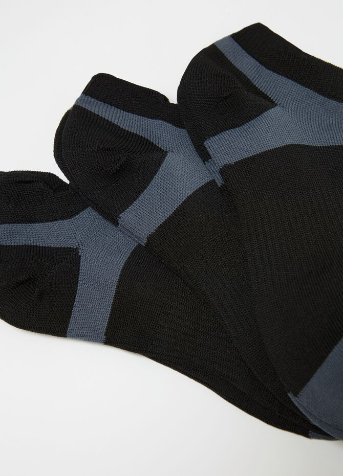 Three-pair pack stretch sports ankle socks