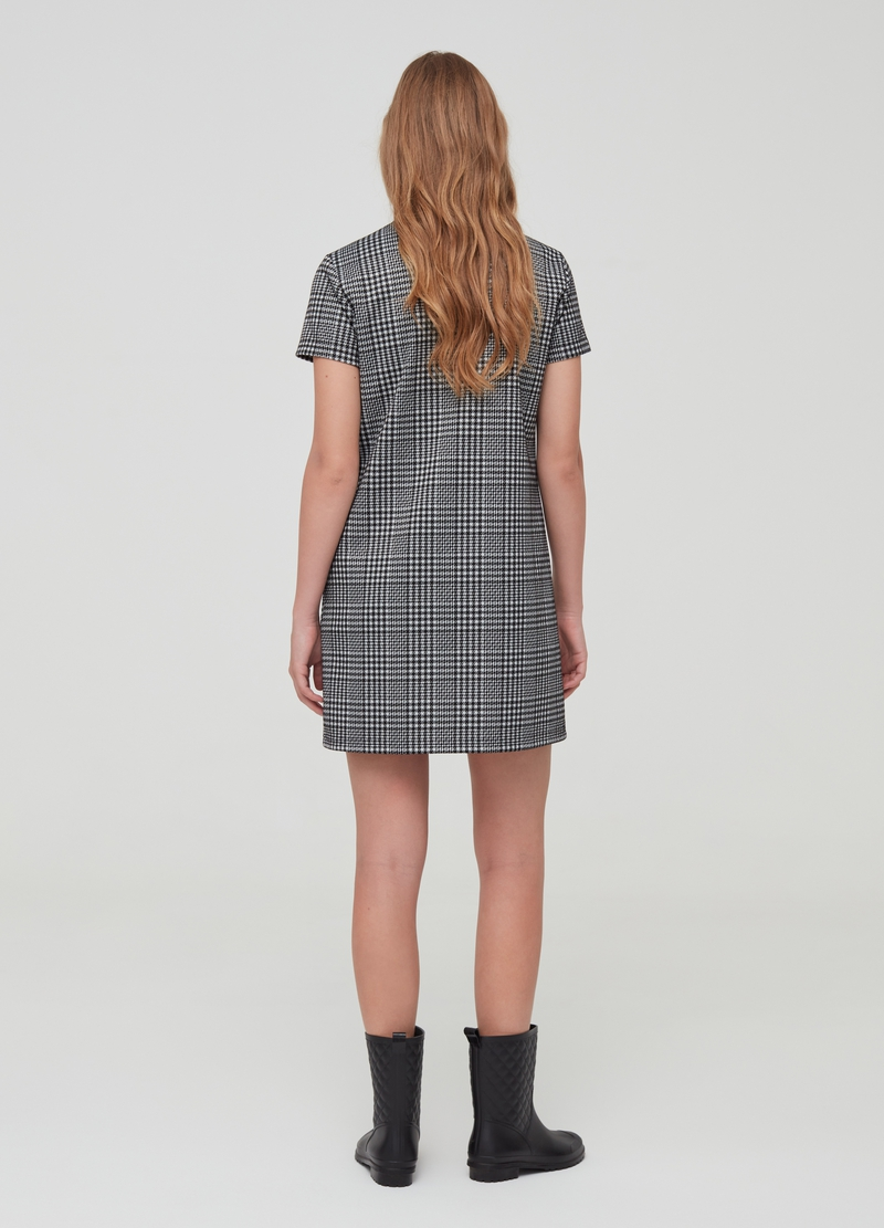 Stretch hounds' tooth dress with pockets image number null