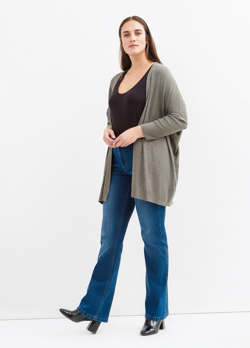 Curvy viscose blend long cardigan image number null