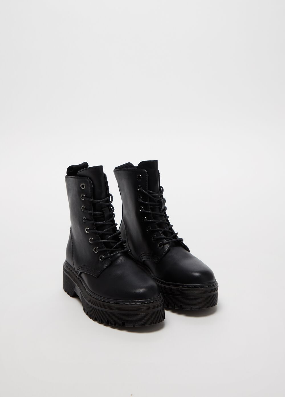 Leather-look combat boots with laces