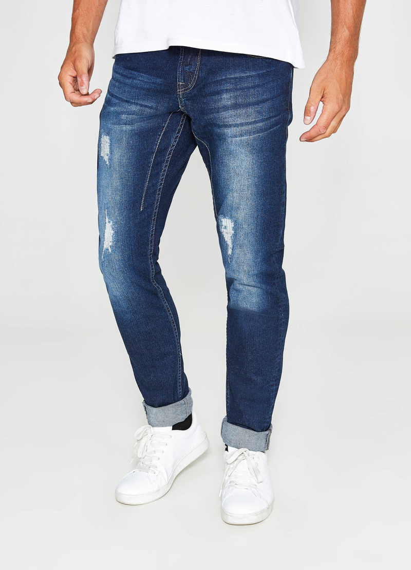Jeans skinny fit stretch used con strappi image number null