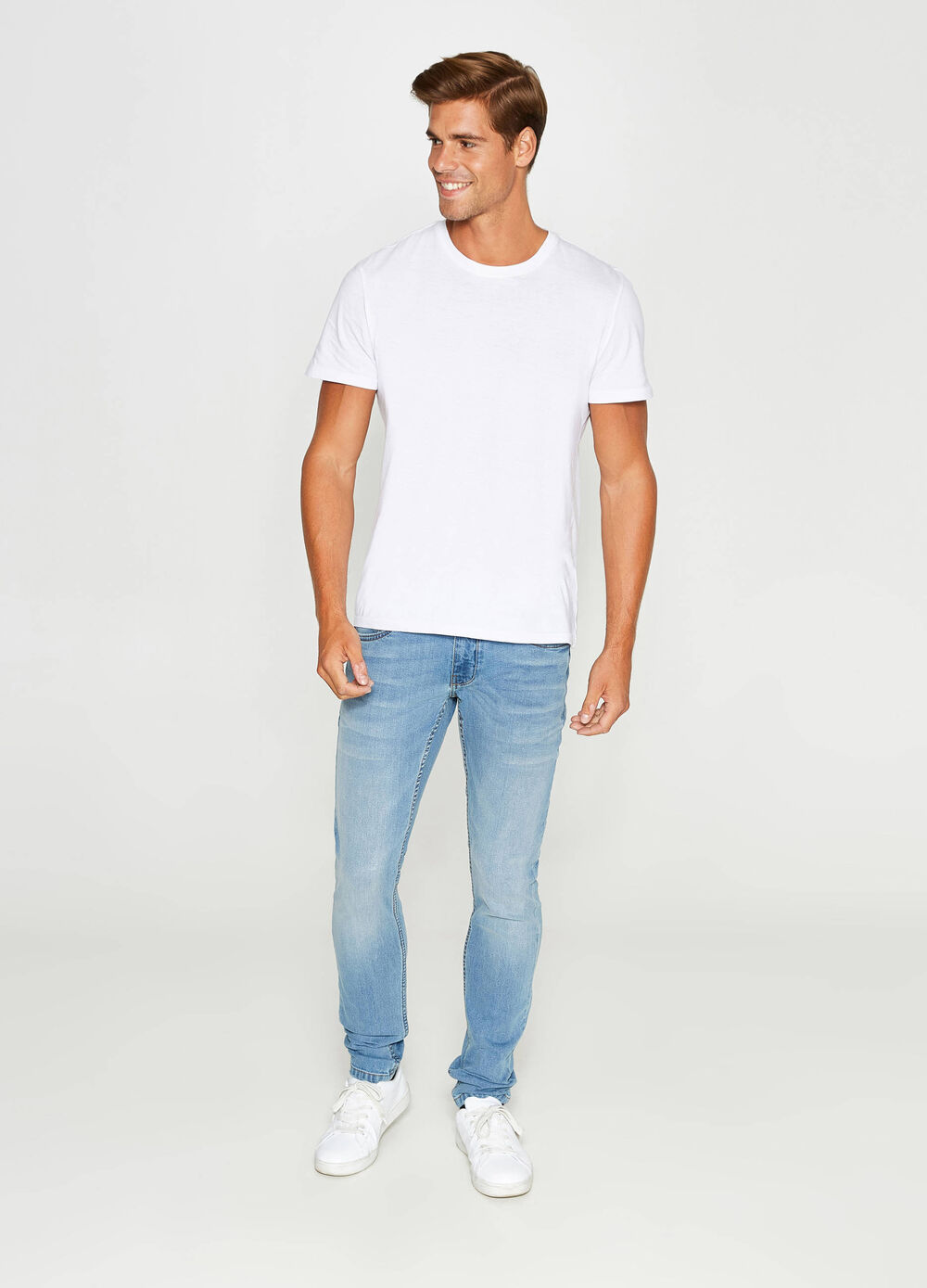 Skinny-fit jeans with fading