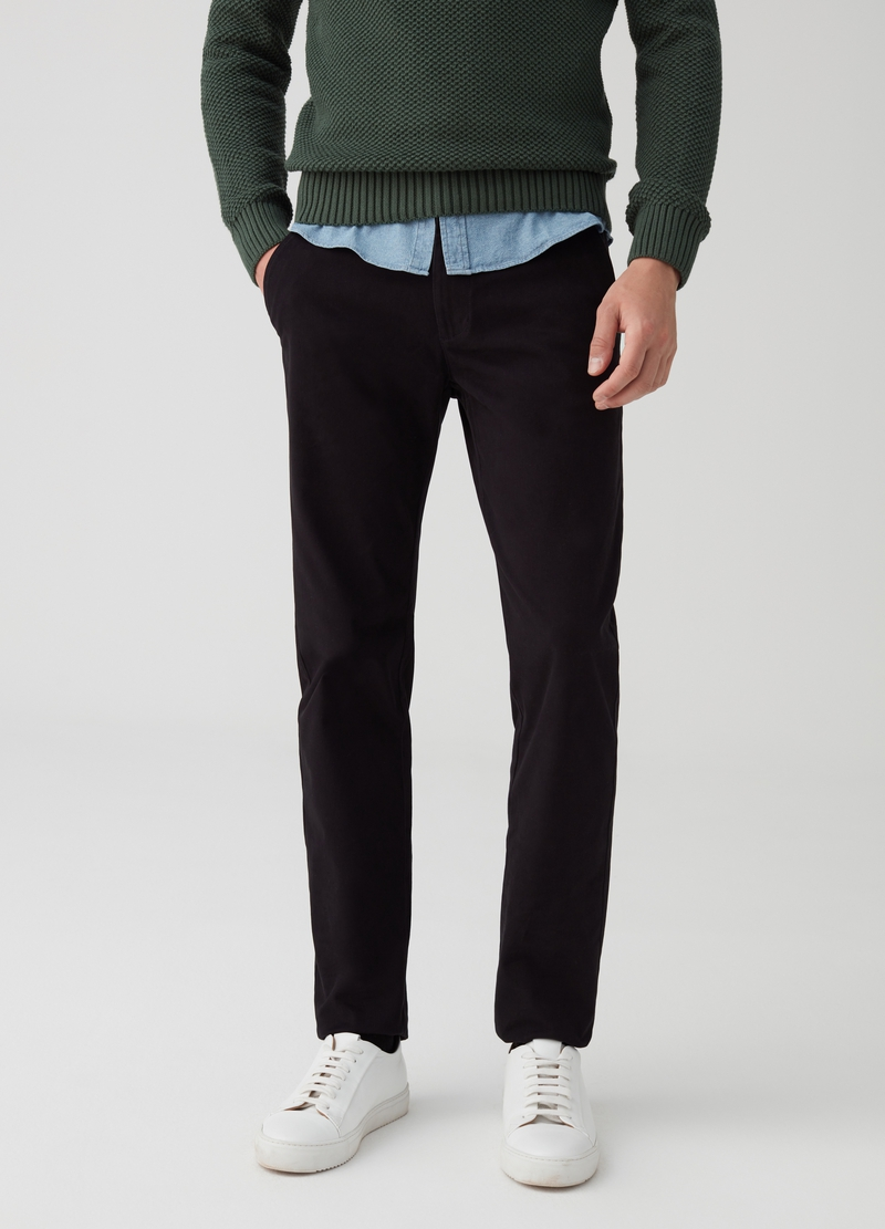 Stretch cotton chino trousers with pockets image number null