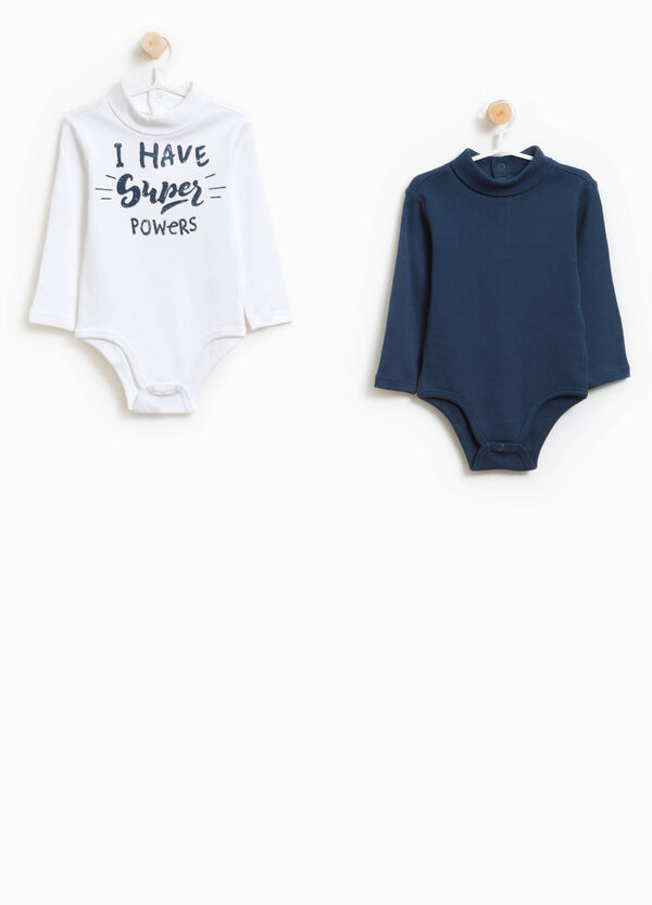 Two-pack solid colour and printed bodysuits in 100% cotton