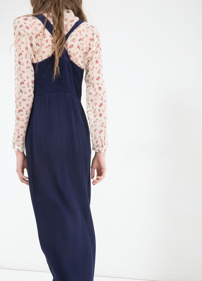 Solid colour viscose long dress