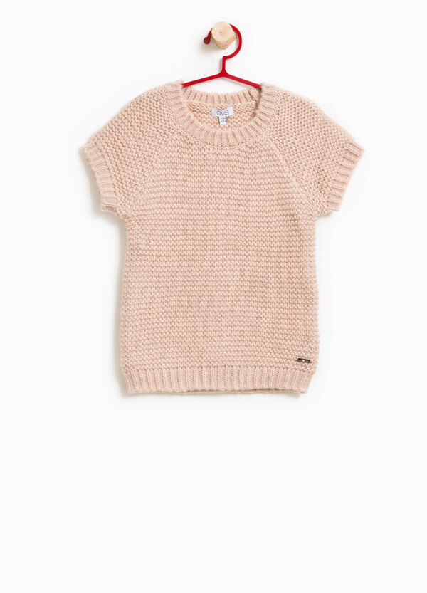 Alpaca wool pullover with short sleeves | OVS