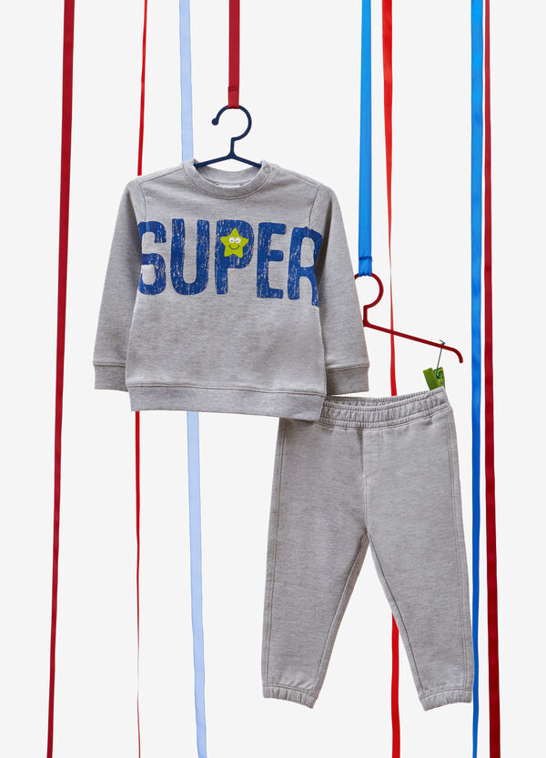 Cotton and viscose tracksuit with printed lettering