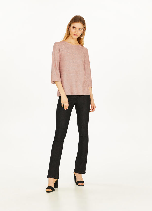 Cotton blend, sequinned pullover