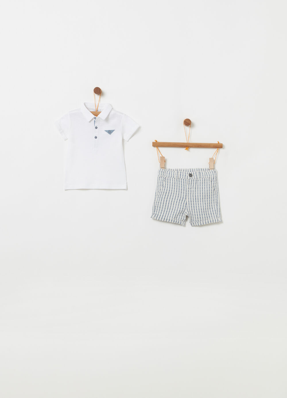 Polo shirt and striped Bermuda shorts outfit