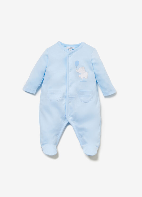 Onesie in 100% cotton with elephant print
