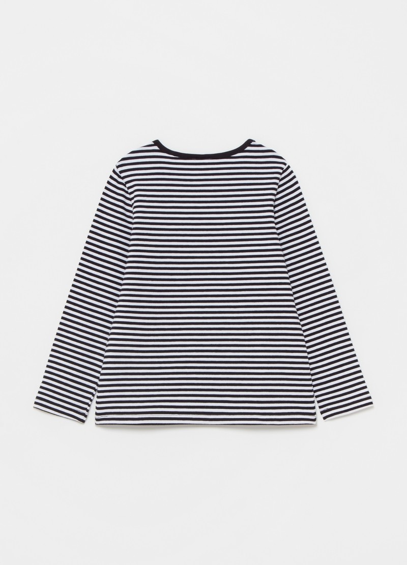 T-shirt fantasia a righe con patch e ricami image number null