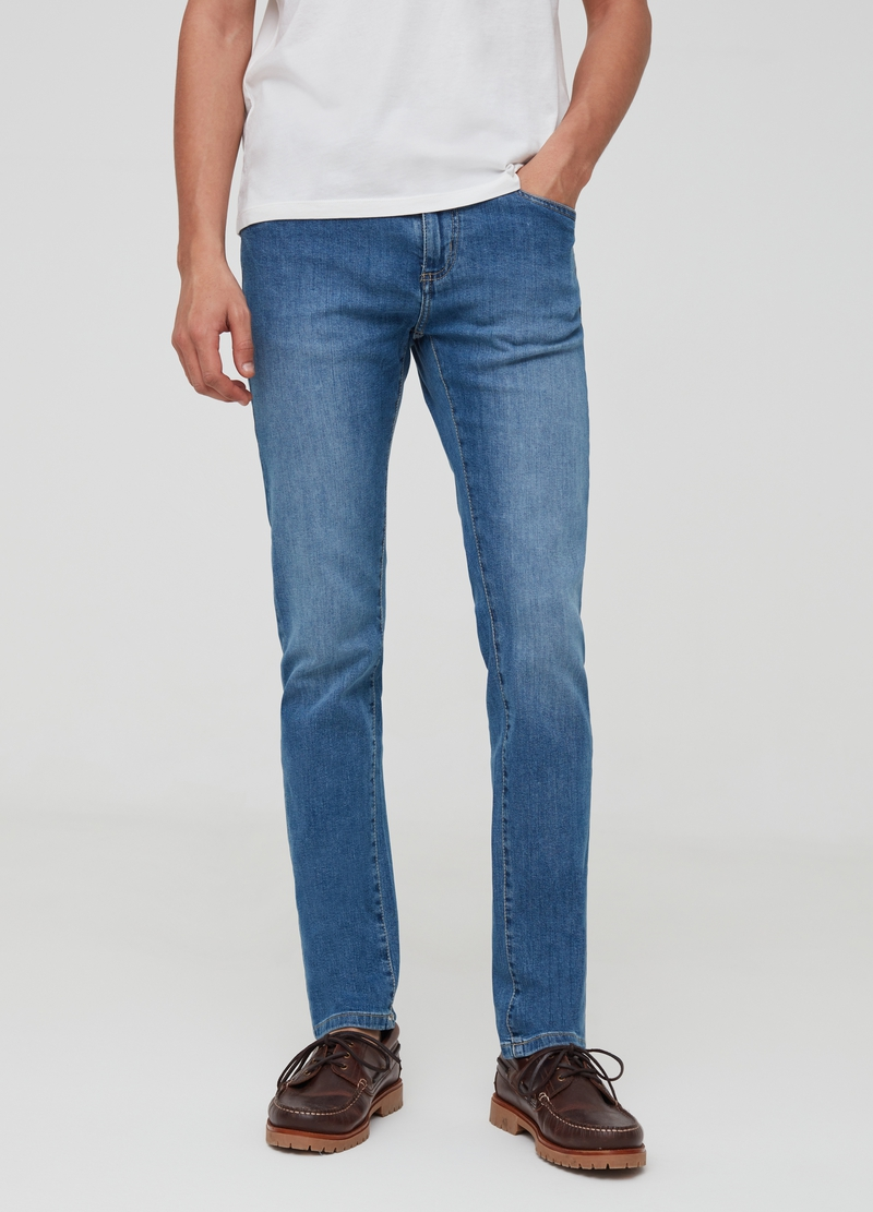 Washed and faded effect skinny fit stretch jeans image number null
