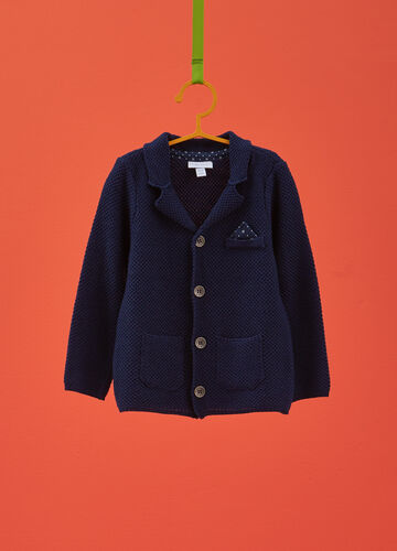 Knitted cardigan with check weave and pocket handkerchief