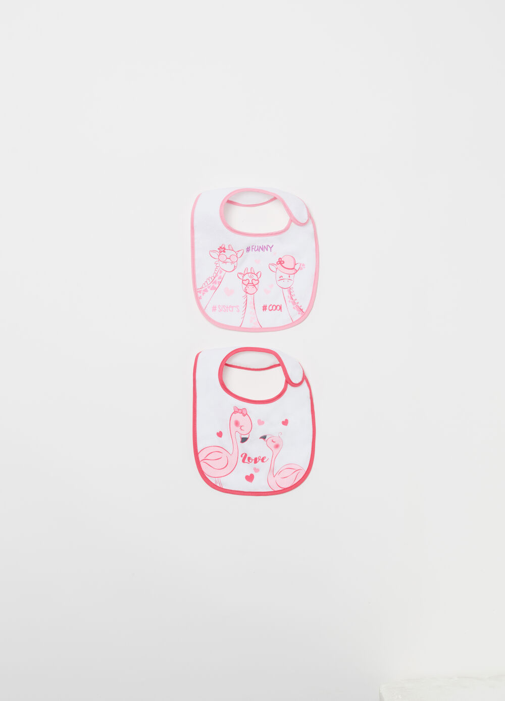 Two-pack terry bibs with print
