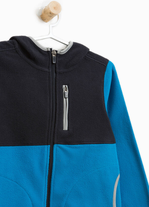 Two-tone sweatshirt with pockets and trim