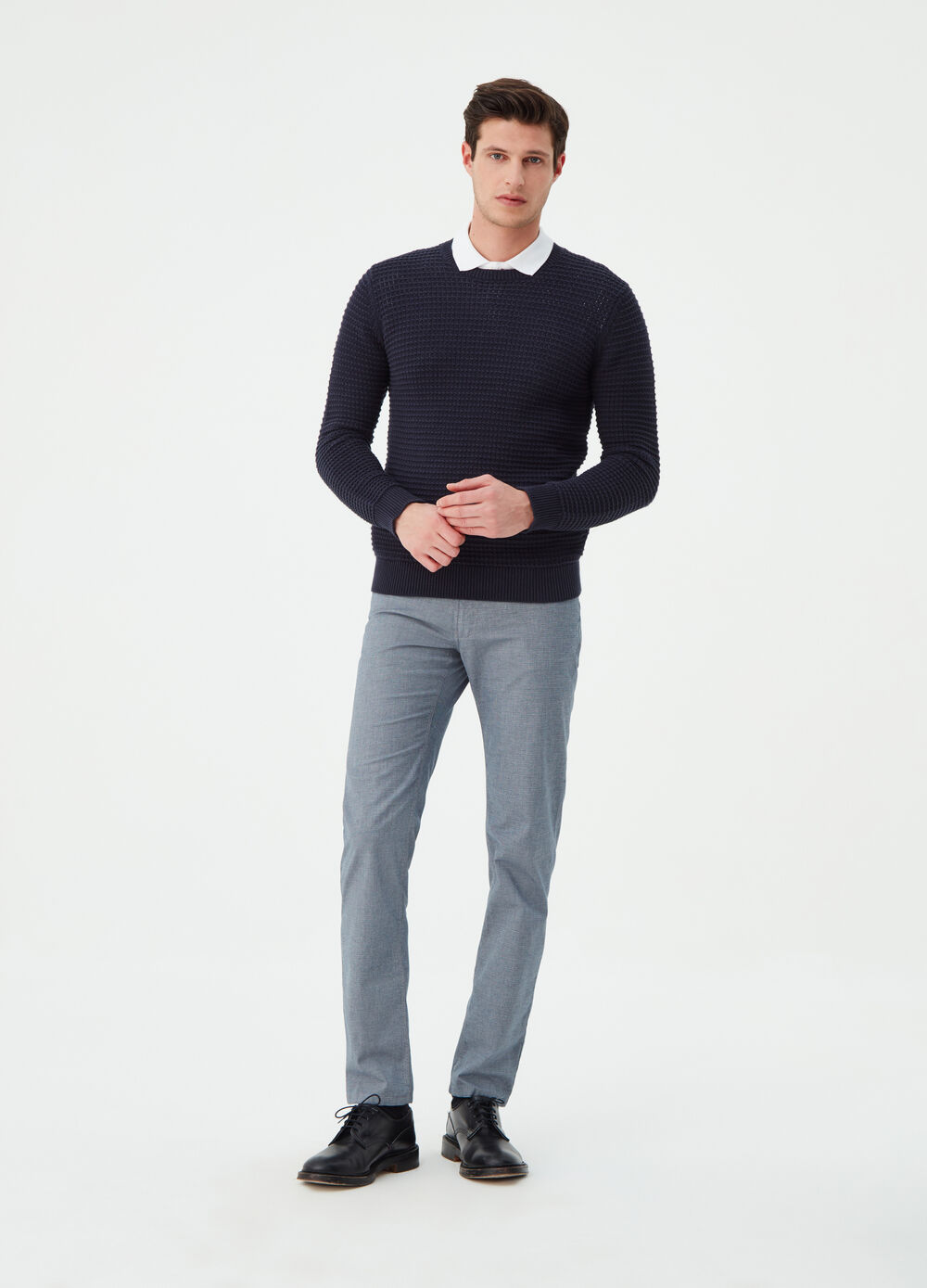Slim-fit stretch trousers with striped weave