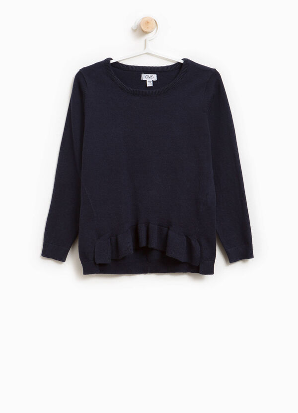 Cotton blend pullover with flounce | OVS