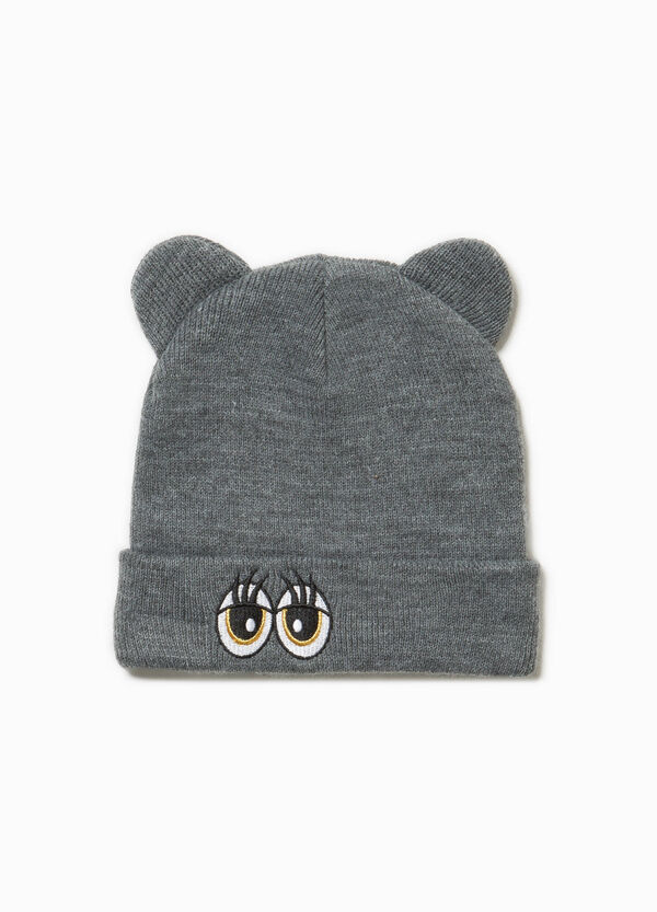 Beanie cap with ears and patch