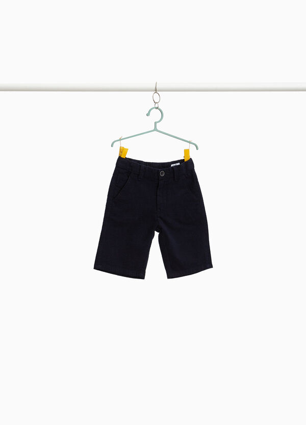 Cotton Bermuda shorts with braided weave