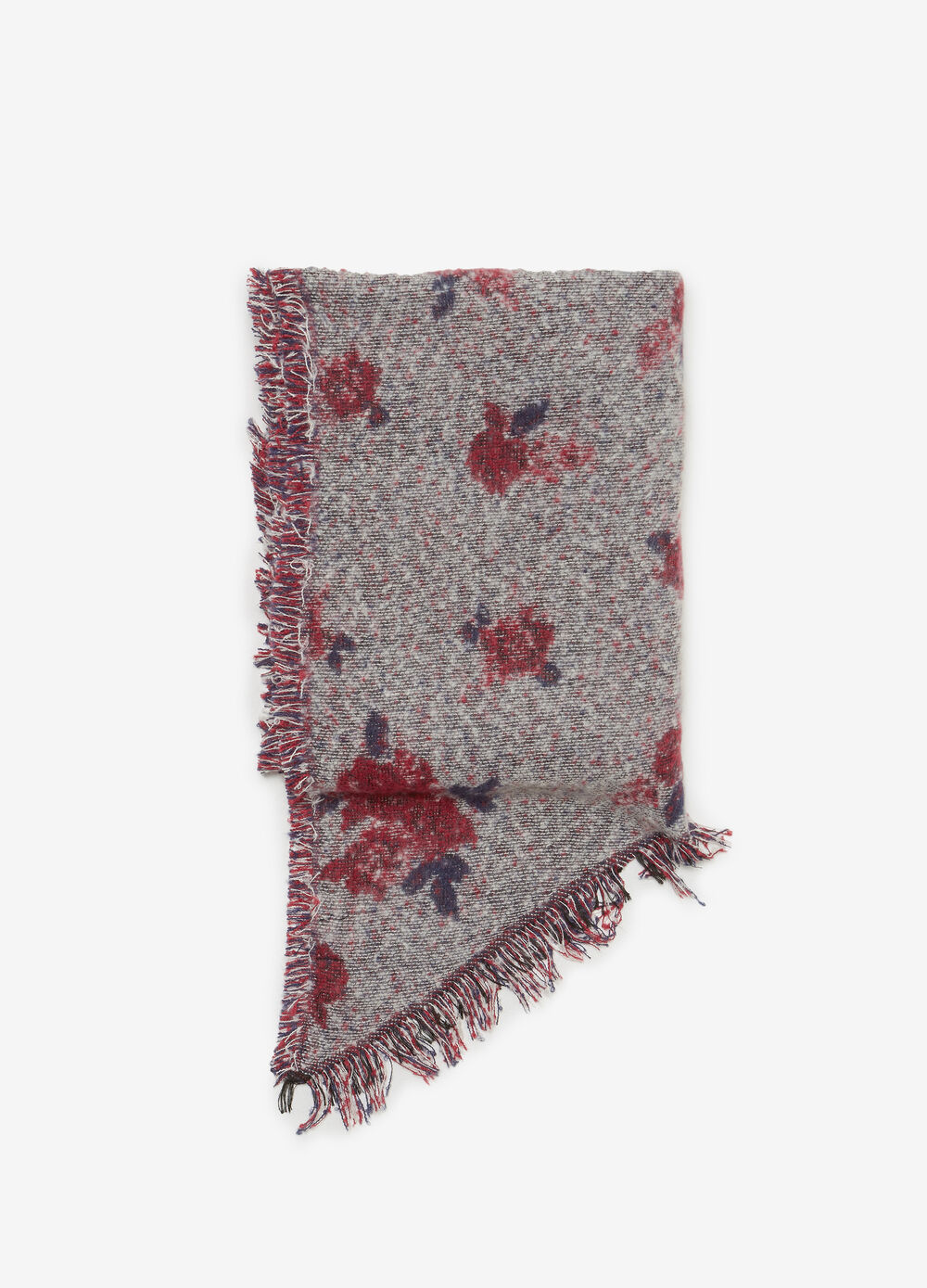 Maxi jacquard scarf with flowers