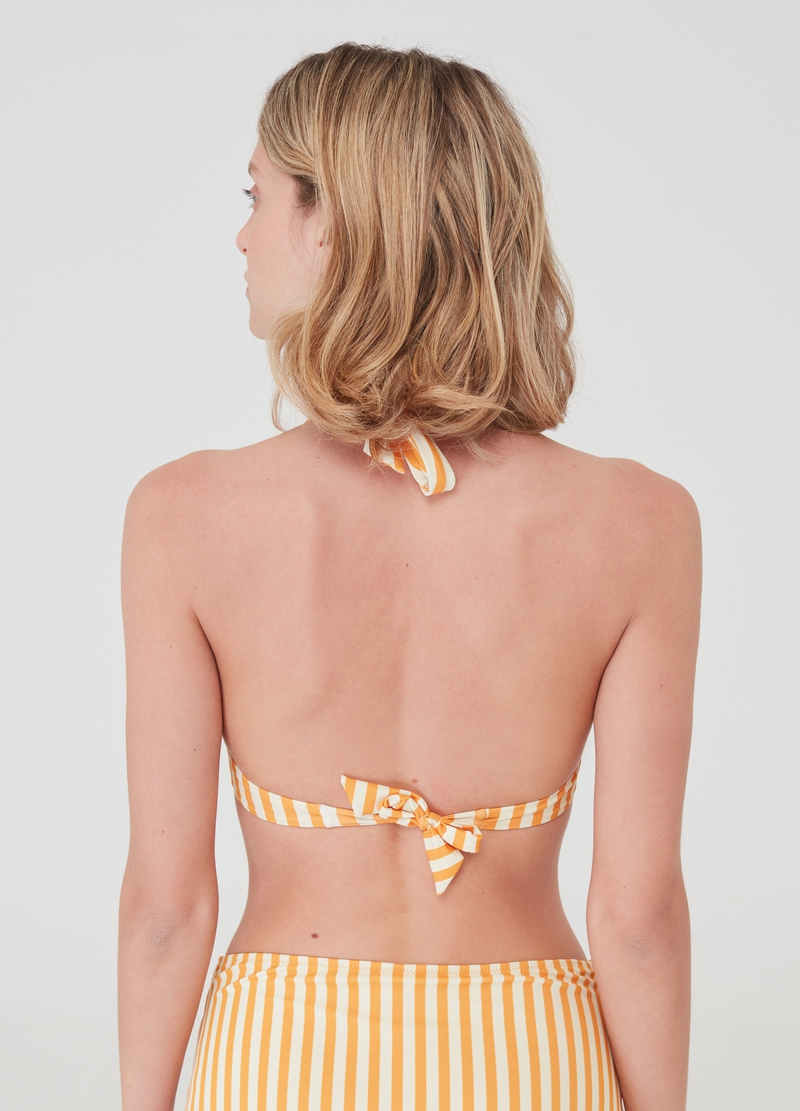 Bikini top with all-over striped print. image number null