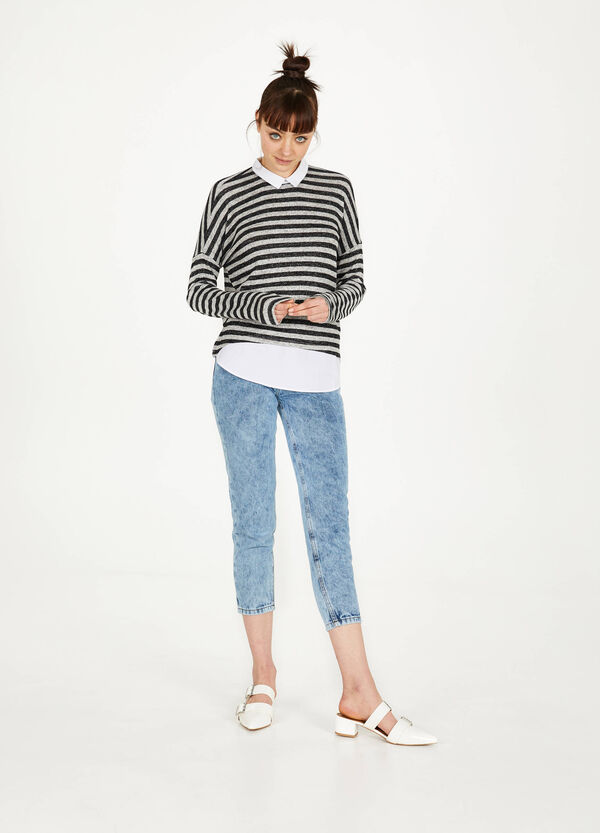 Striped sweatshirt in stretch viscose blend