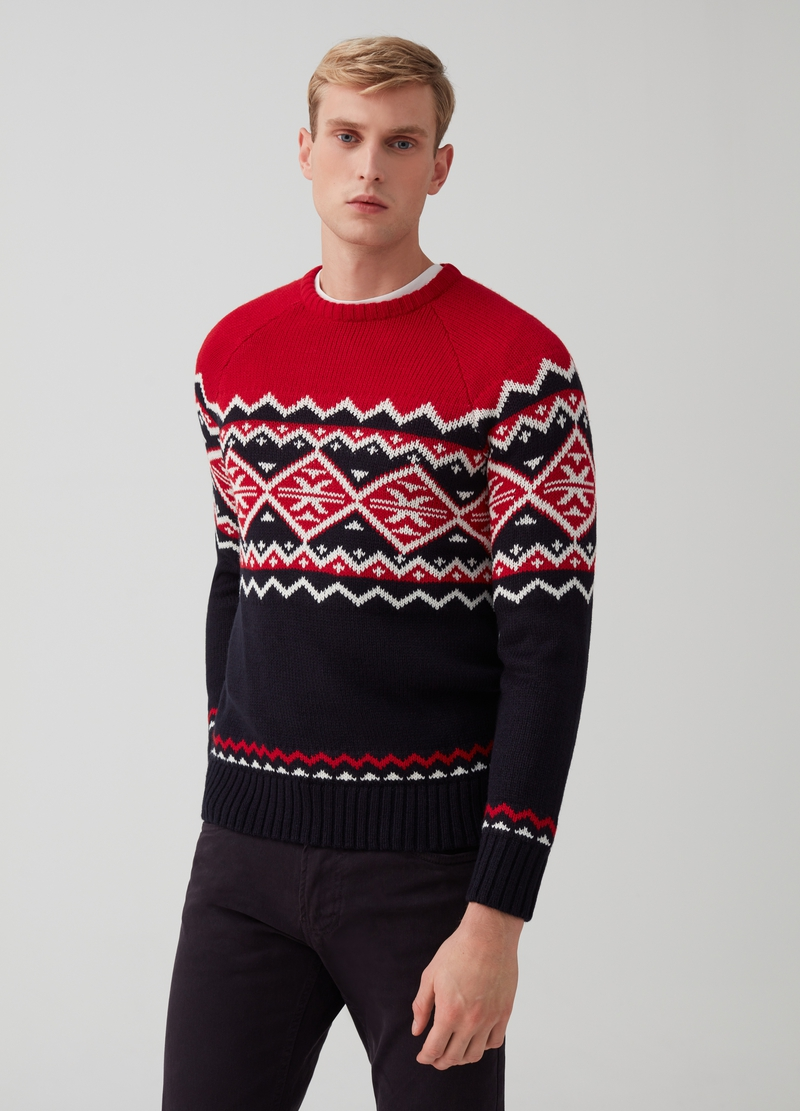 Knitted Christmas jumper with embroidery image number null