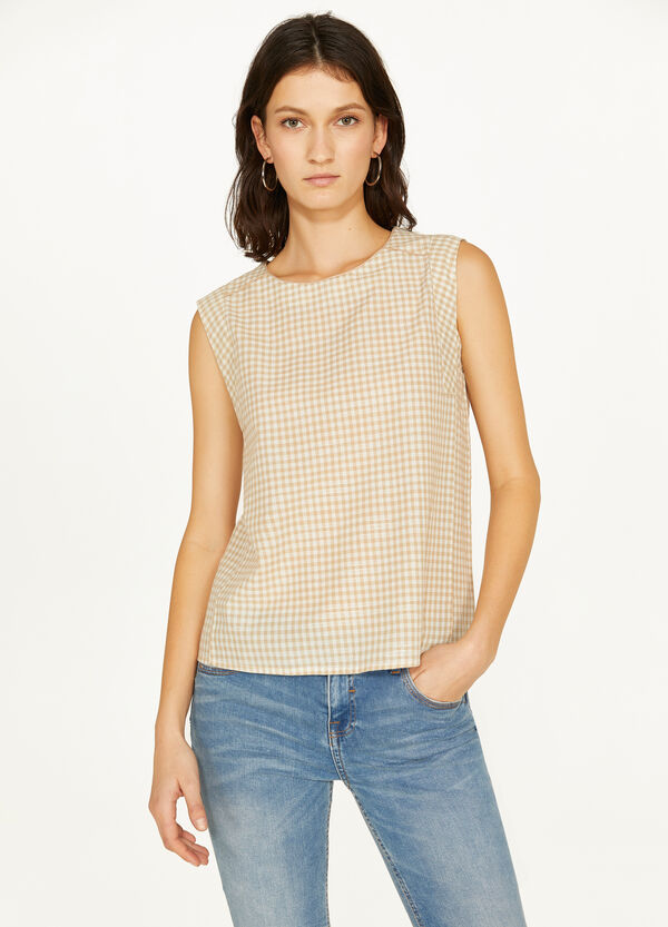 Blusa smanicati stretch a quadri