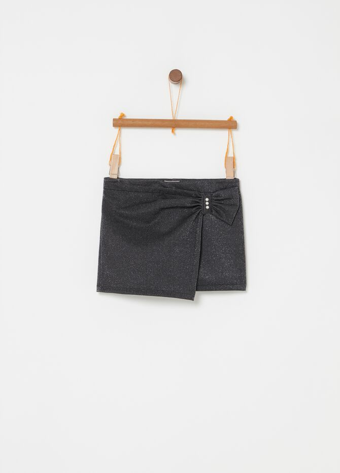 Shorts stretch con lurex e perline