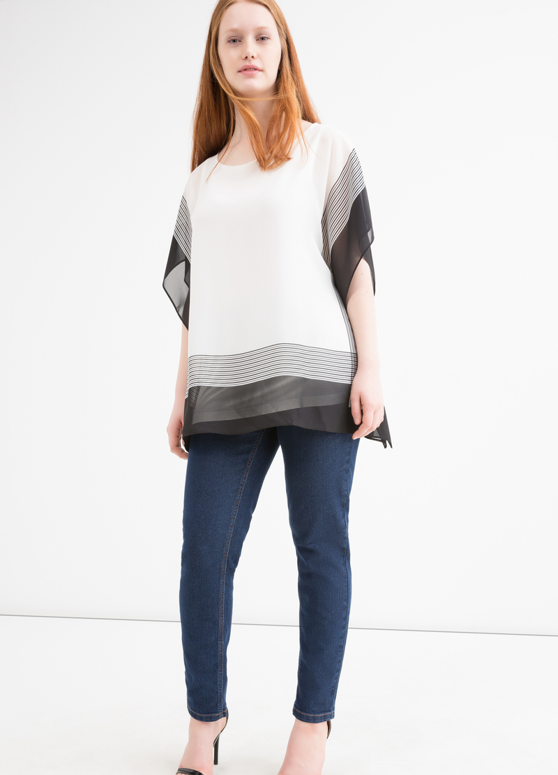 Blusa misto viscosa righe Curvy image number null
