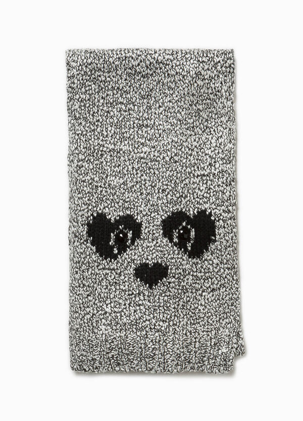 Knitted scarf with animal motif embroidery | OVS