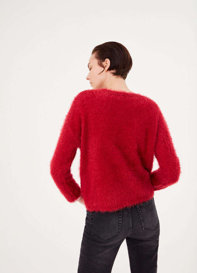 Top with fur-effect yarn