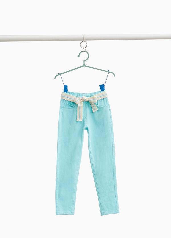 Stretch cotton trousers with striped belt