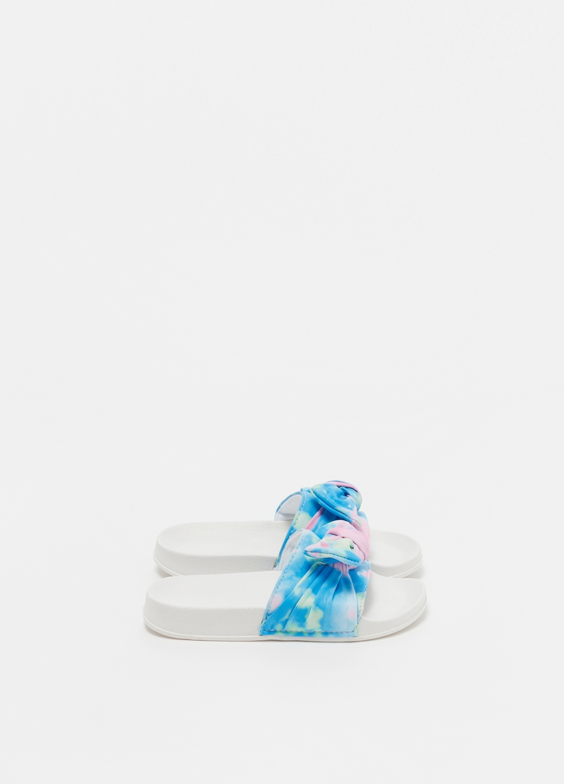 Slippers with Tie Dye print bow image number null