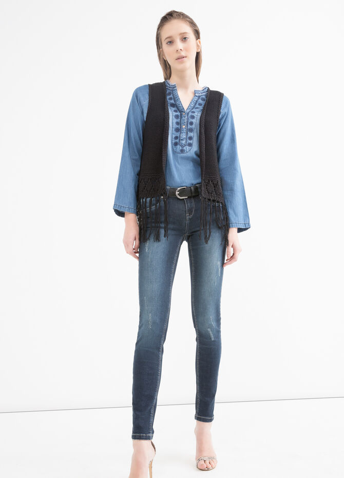 Knitted waistcoat with fringe