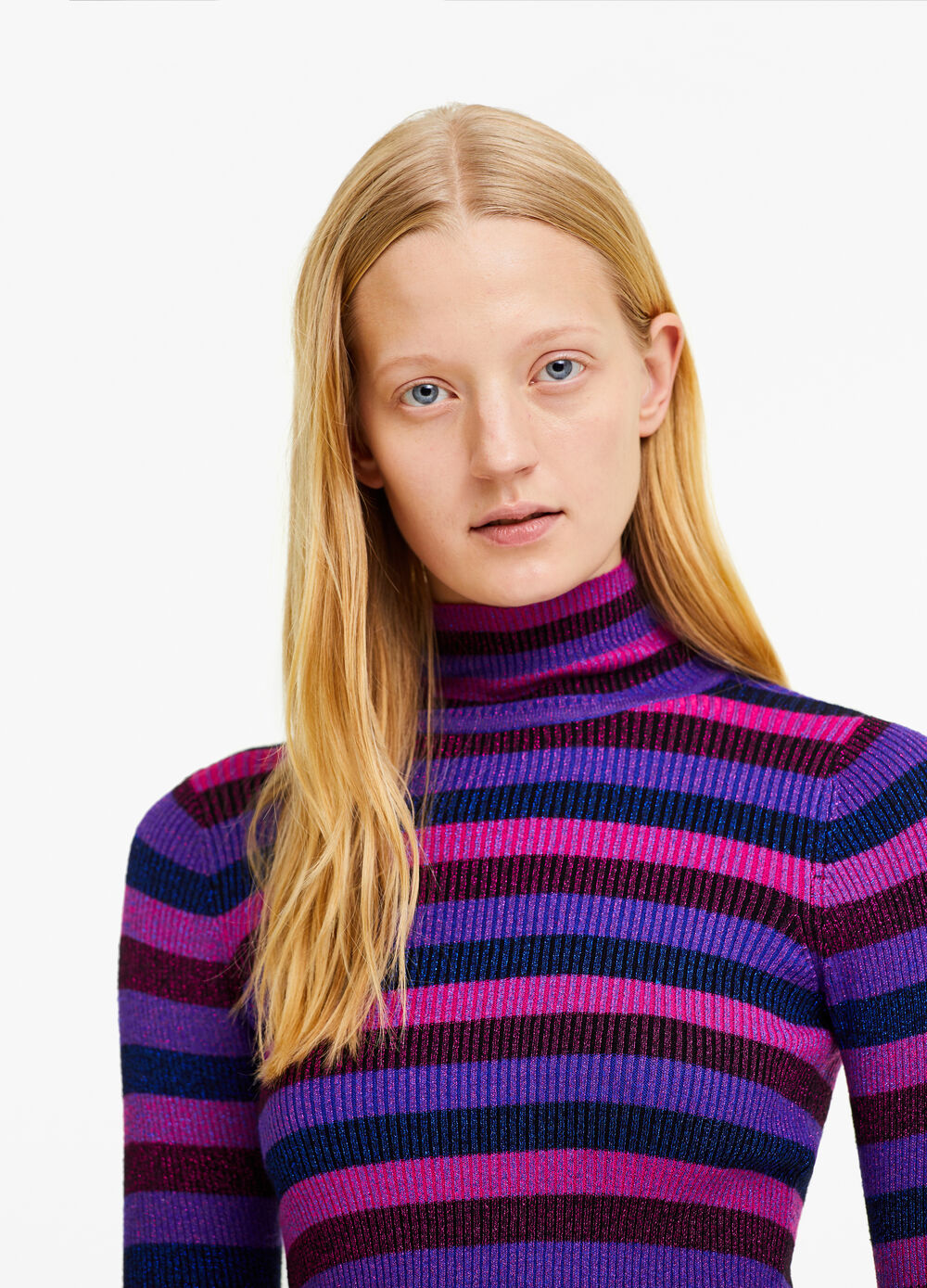 Viscose blend pullover with high neck and stripes