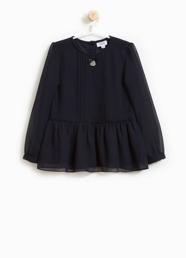 Blouse with round neck and pleating | OVS