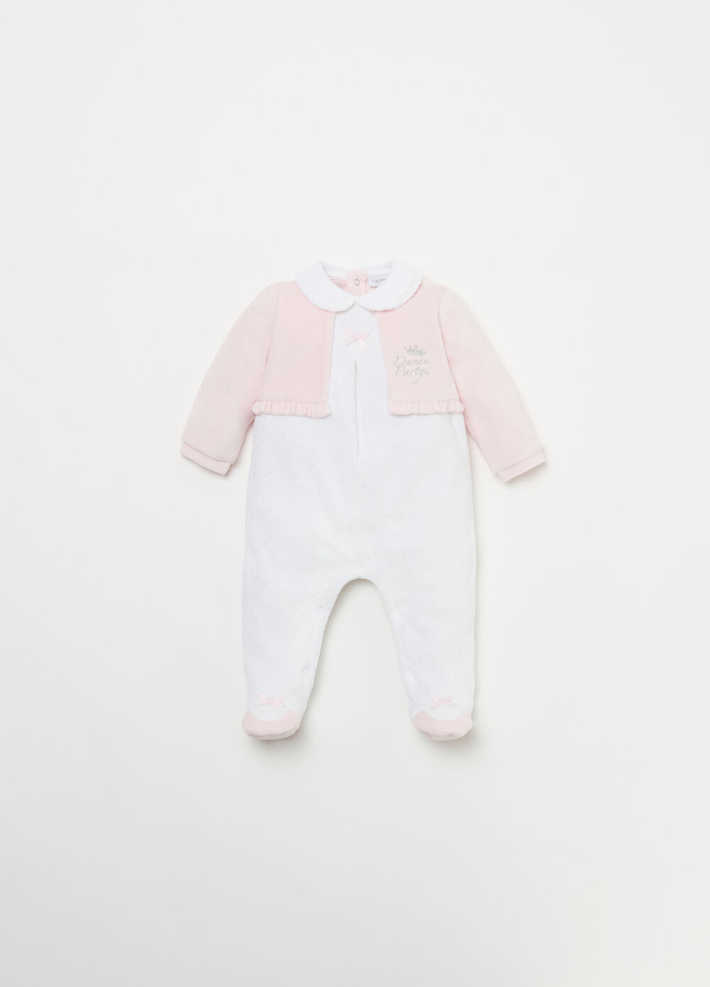 Onesie with shrug and flounce with glitter polka dots