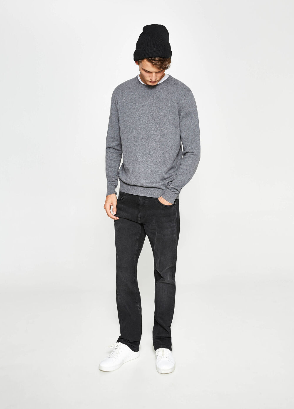 Pullover in cotton and cashmere