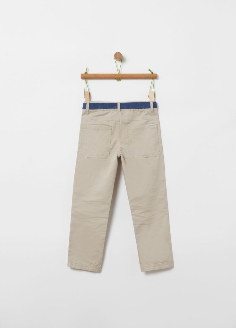 100% cotton trousers with belt image number null