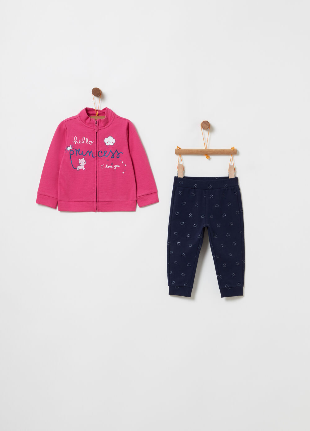 Jogging set with sweatshirt and trousers with print